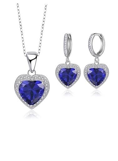 Enesstore Gümüş Mavi Zirkon Taşlı Kalp Gümüş Bayan Kolye Küpe Set Beyaz